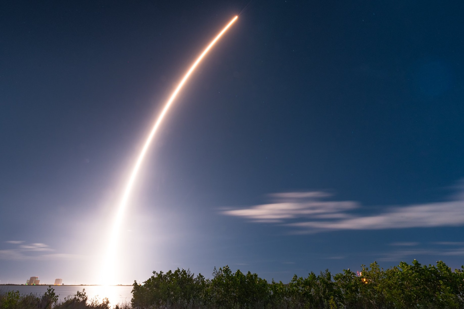 United Launch Alliance's Atlas V rocket carries the Solar Orbiter into space as it launches on Feb. 9, 2020, at Cape Canaveral Air Force Station, Fla. The Solar Orbiter is a Sun-observing satellite which is intended to perform measurements of the inner heliosphere and perform close observations of the polar regions of the Sun. (U.S. Air Force photo by Joshua Conti)