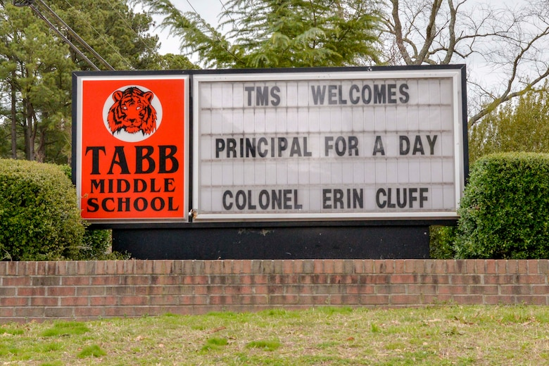 Col. Erin Cluff, 633d Mission Support Group Commander, participates in the Principal for a Day program at Tabb Middle School Jan. 28, 2020.