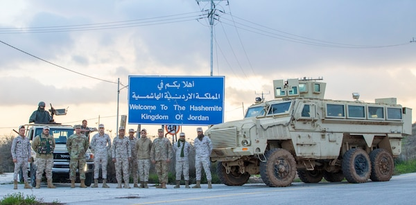 Jordan Armed Forces-Arab Army (JAF) soldiers with Military Engagement Team-Jordan, 158th Maneuver Enhancement Brigade, Arizona Army National Guard, during a Mine Resistant Ambush Protected Wheeled Armored Vehicle Subject Matter Expert Exchange at a base outside Amman, Jordan, in January. The U.S. military has a longstanding relationship with Jordan to support mutual objectives by providing military assistance to the JAF consistent with U.S. national interests.