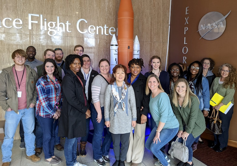 Students of Huntsville Center's Leadership Development Program I course gather for a photo at the NASA Marshall Space Flight Center main building during a team-building trip to Redstone Arsenal, Alabama, Jan. 31, 2020.