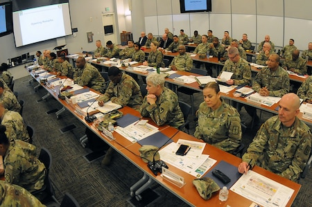 Attendees of the Sen listen to speakers during the Senior Sustainment Warrant Officer Forum at the Army Logistics University Feb. 5