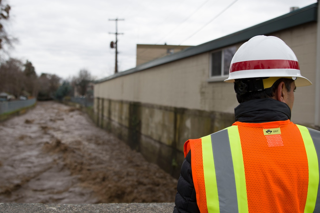 Prakash Kaini, Civil Engineer for the Walla Walla Corps of Engineers overseeing the Mill Creek Channel on South Clinton St. in Walla Walla.