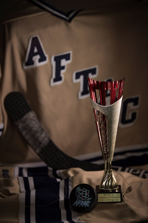 A photo of the 2020 Challenge Cup trophy presented to the Air Force Technical Applications Center hockey team after winning their game against the Canadian Embassy Jan. 31, 2020 in Washington D.C.  (U.S. Air Force photo by Matthew S. Jurgens)