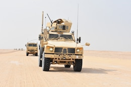 The 129th Combat Sustainment Support Battalion, 77th sustainment Brigade, conducts convoy operation straining at Camp Buehring, Kuwait, Oct. 21, 2019. The main purpose of the training operation is to ensure mission readiness of in theater and combat based convoy operations.