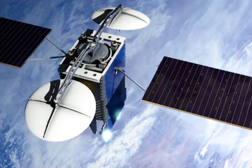 A satellite hovers over the Earth.