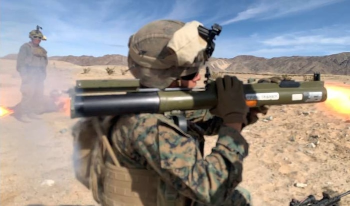 A Marine from Company A, 1st Battalion, 4th Marines, 1st Marine Division (Rein), fires a Light Anti-Armor Weapon (LAW) during a live fire exercise at Integrated Training Exercise, Twenty-Nine Palms, California on Jan. 30, 2020.
