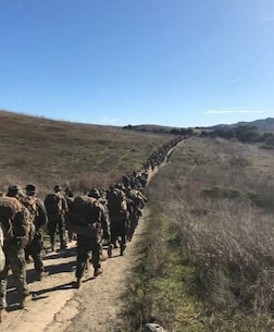 1st Battalion, 4th Marines, 1st Marine Division (Rein), conducts a battalion hike at Camp Pendleton on Dec. 20,2019.