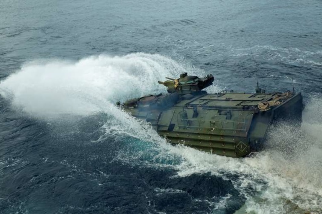 The U.S. Marines of Company B, Battalion Landing Team 1/4, 31st Marine Expeditionary Unit, conducting ship to shore movement from USS Green Bay (LPD-20) to White Beach, Okinawa, Japan for a mechanized raid during Amphibious Integration Training (AIT), Jan. 28, 2019. AIT is conducted in preparation for Certification Exercise, and to ensure readiness for crisis response throughout the Indo-Asia-Pacificregion.