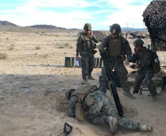 The U.S. Marines of Weapons Company, 1st Battalion, 4th Marines, 1st Marine Division (Rein), conducts an 81mm mortar firing exercise at Integrated Training Exercise, Twenty-Nine Palms, California, Jan. 30,2020.