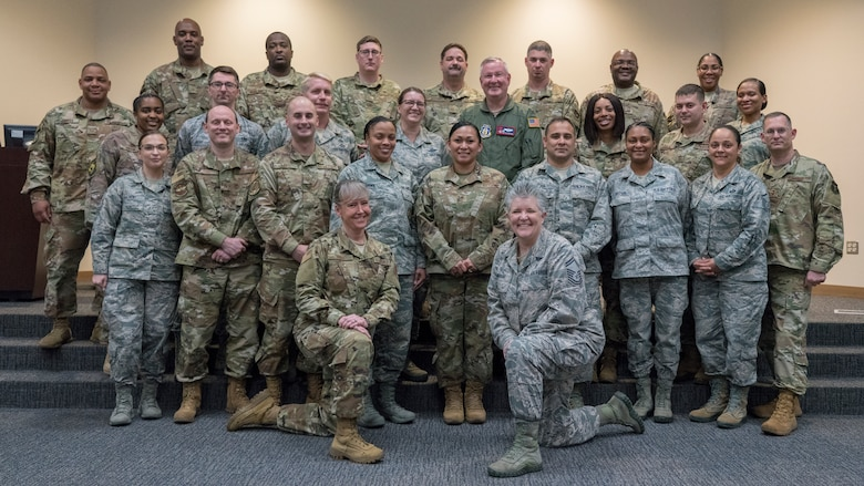403rd Wing leadership and Senior Noncommissioned Leadership Course participants and facilitators pose for a class photo Feb. 12 at Keesler Air Force Base, Miss. The SNCOLC is designed to teach senior enlisted personnel with leadership and management training needed to perform their roles effectively as tactical leaders. The course focuses on SNCO core competencies such as employing military capabilities, individual readiness, managing organizations and resources, strategic thinking, leading Airmen, effective communication and embodying Airman culture. (U.S. Air Force photo by Tech. Sgt. Christopher Carranza)