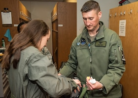 Senior Airman Juan Riley Fulton receives incentive flight.