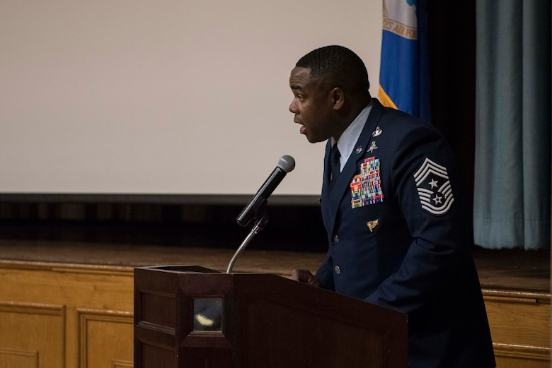 Chief Master Sgt. Robert L. Zackery III, 47th Flying Training Wing command chief master sergeant, gives his advice to 18 Tactical Air Control Party (TACP) candidates preparing to graduate at Joint Base San Antonio-Lackland, Texas, Dec. 13, 2019. The Special Warfare Training Wing graduates Combat Control, Special Reconnaissance, Pararescue and TACP Airmen – whose mission is to conduct global combat operations in contested, denied, and austere areas under any environmental conditions.(U.S. Air Force photo by Senior Airman Marco A. Gomez)