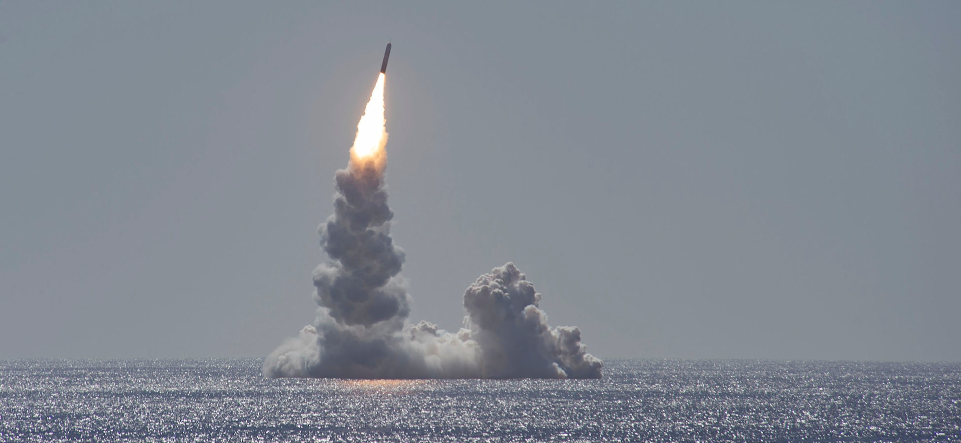 An unarmed Trident II (D5LE) missile launches from the Ohio-class ballistic missile submarine USS Maine (SSBN 741) off the coast of San Diego, California, Feb. 12, 2020. The test launch was part of the U.S. Navy Strategic Systems Programs' demonstration and shakedown operation certification process. The successful launch demonstrated the readiness of the SSBN's strategic weapon system and crew following the submarine's engineered refueling overhaul. This launch marks 177 successful missile launches of the Trident II (D5 & D5LE) strategic weapon system.