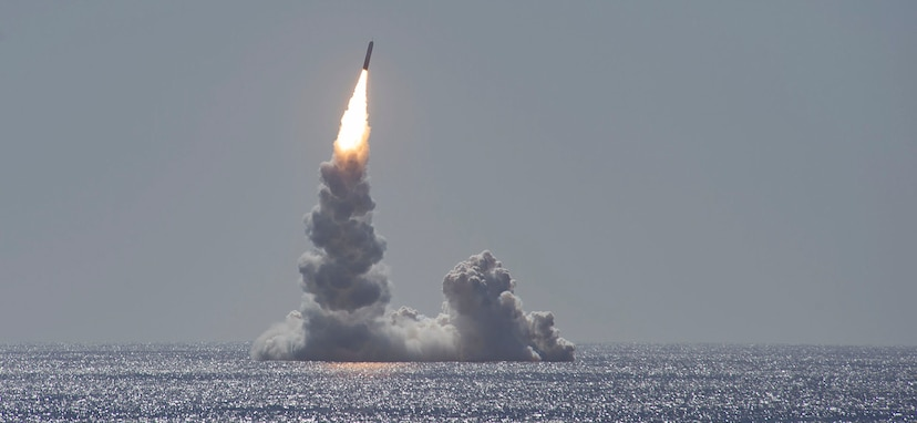 The U.S. Navy conducted a scheduled, one-missile test flight of an unarmed life-extended Trident II (D5LE) missile from USS Maine (SSBN-741), an Ohio-class ballistic missile submarine, on the Western Test Range off the coast of San Diego, California, Feb. 12, 2020.