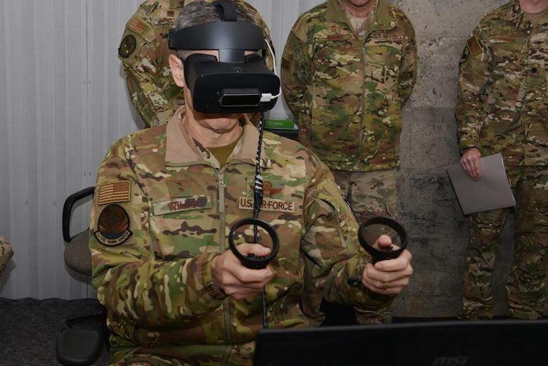 Person using virtual reality equipment