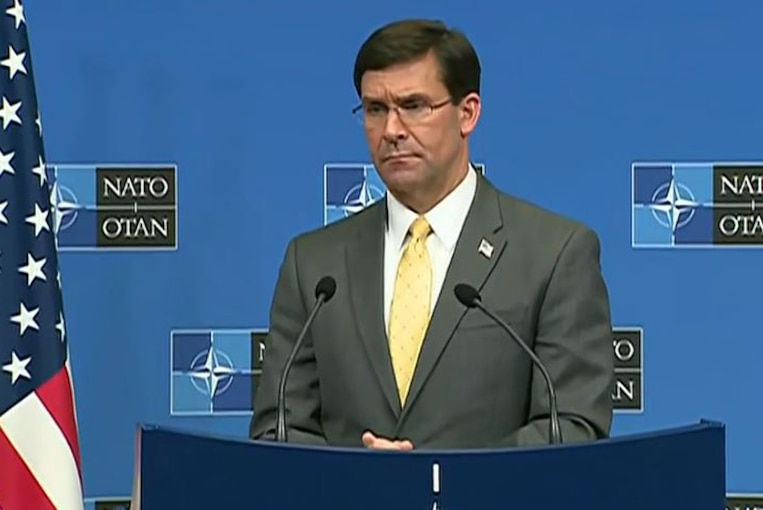 Defense Secretary Dr. Mark T. Esper participates in a news conference at the NATO defense ministerial conference in Brussels, Feb. 13, 2020.