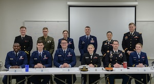 Air Force, Army, Coast Guard, Marine and Navy officers were part of a panel Feb. 10, 2020, at Marion Military Institute in Marion, Ala., where they answered questions from MMI cadets. (U.S. Air Force photo by Airman Davis Donaldson)