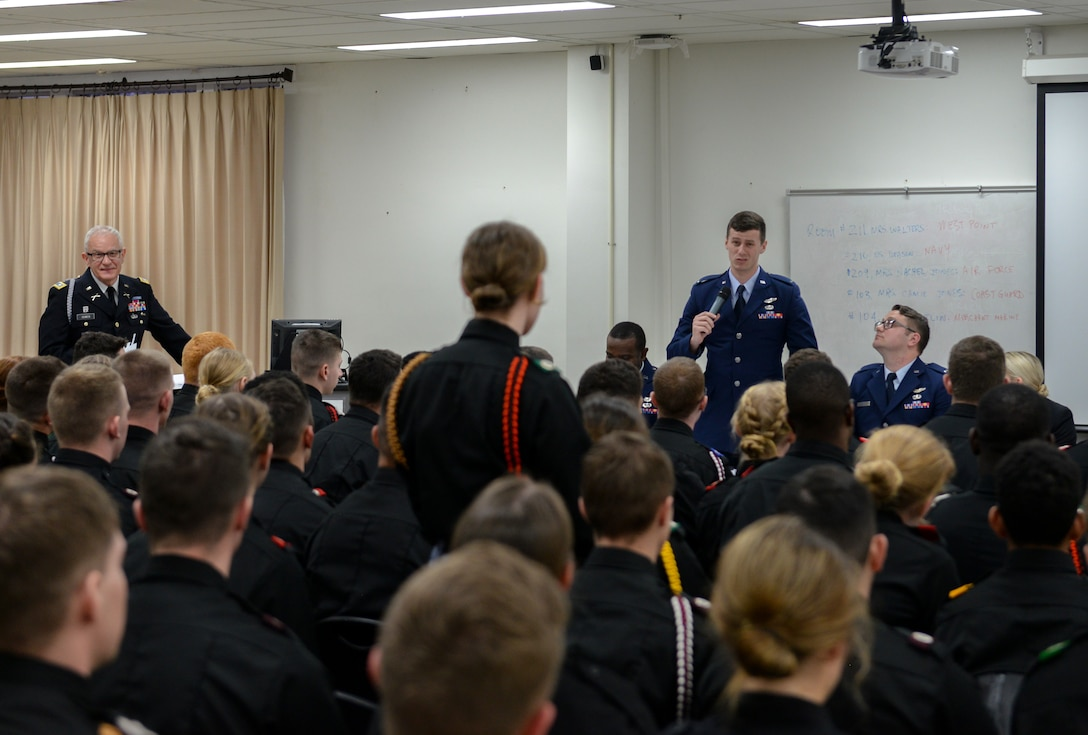 First Lt. Everett Montano, 37th Flying Training Squadron instructor pilot, answers a question asked by a Marion Military Institute cadet Feb. 10, 2020, at MMI in Marion, Ala. MMI was founded in 1842 and is one of only four military junior colleges in the United States. (U.S. Air Force photo by Airman Davis Donaldson)