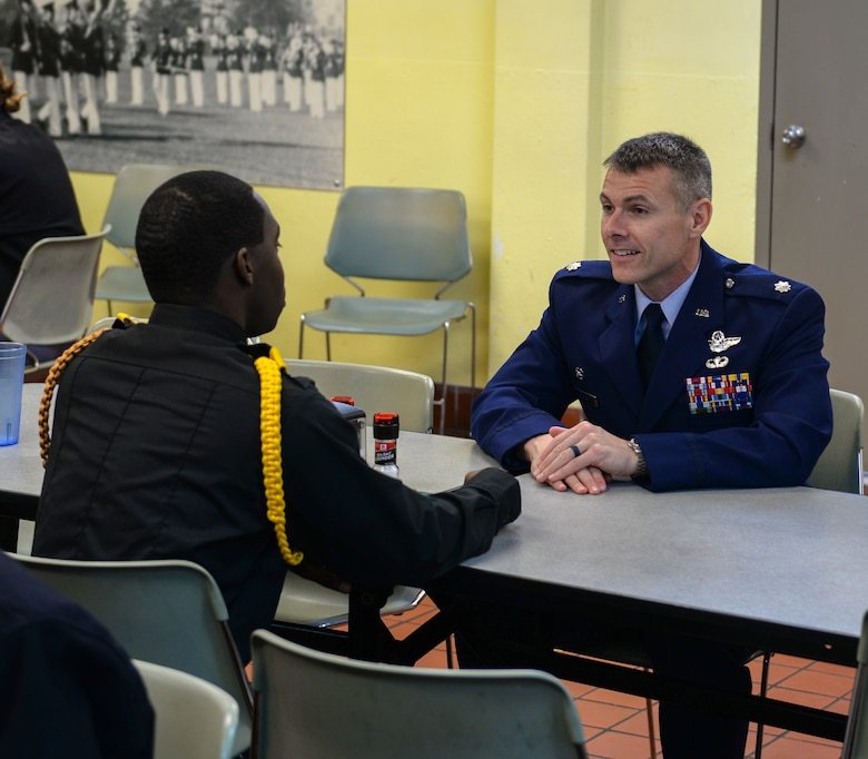 Lt. Col. Nathaniel Wilds, 50th Flying Squadron commander, speaks with a Marion Military Institute cadet, Feb. 10, 2020, at MMI in Marion, Ala. Challenging academic programs, hands-on opportunities and rigorous course work prepare cadets for transfer to a four-year college or university or to obtain an appointment to a service academy. (U.S. Air Force photo by Airman Davis Donaldson)