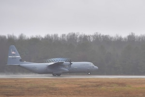 A C-130J Super Hercules from the 61st Airlift Squadron departs from Little Rock Air Force Base.