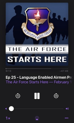 """The Air Force Starts Here"" podcast on Spotify and Google Play, along with Apple Podcasts. The AETC professional development podcasts focus on topics surrounding the recruiting, training and education world with impact to the U..S. Air Force."