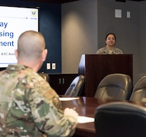 Airman 1st Class Annabella Riggle, the 509th Contracting Squadron contracting administrator, presents her innovative idea to leadership on Jan. 28, 2020, at Whiteman Air Force Base, Mo. The Innovation Pitch Day allowed the Airmen to present their ideas to inspire change for the Whiteman AFB sponsorship program. (U.S. Air Force photo by Airman 1st Class Christina Carter)
