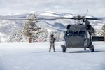 A Colorado Army National Guard UH-60L Black Hawk helicopter lands on a ski trail at Vail Ski Resort, Vail, Colorado, Feb. 17, 2019. The helicopter flew from the High-Altitude Army National Guard Training Site in Gypsum to conduct training. (U.S. Army National Guard photo by Spc. Michael Hunnisett)