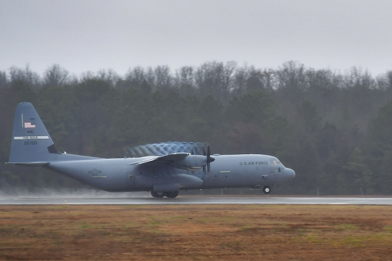 A C-130J Super Hercules from the 61st Airlift Squadron departs from Little Rock Air Force Base, Arkansas, for a capstone exercise taking place in the Indo-Pacific Command's area of responsibility.