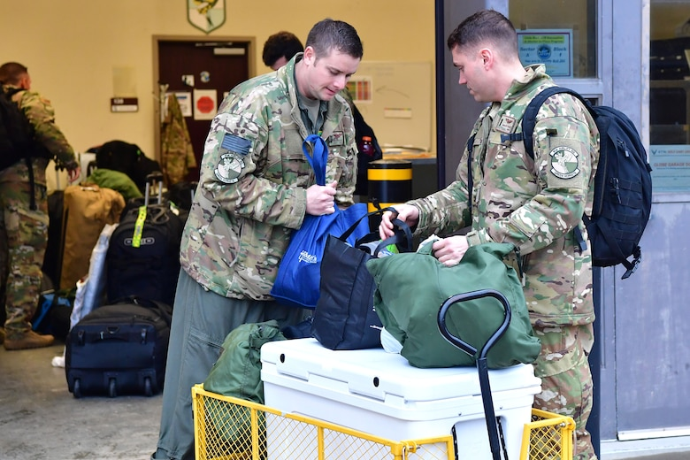 Airmen from the 61st Airlift Squadron at Little Rock Air Force Base, Arkansas, prepare to depart for a capstone exercise taking place in the Indo-Pacific Command's area of responsibility.