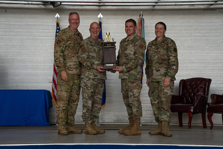 From left to right: Col. Jeff Van Dootingh, 403rd Wing commander, Col. Jay Johnson, 403rd Maintenance Group commander, Chief Master Sgt. Thomas Lassabe, 403rd Maintenance Group chief enlisted manager, and Chief Master Sgt. Amanda Stift, 403rd Wing command chief, pose for a photo during a Commander's Call Feb. 8 at Keesler Air Force Base, Miss. Johnson and Lassabe accepted the wing's Outstanding Unit of the Year award on behalf of the Maintenance Group. (U.S. Air Force photo by Staff Sgt. Shelton Sherrill)