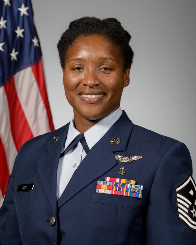 Official Photo of Master Sgt. Kimelyn Hall, 403rd OSS taken at Wall Studio at Kessler AFB on Sept. 27, 2019. (U.S. Air Force Photo by Andre' Askew)