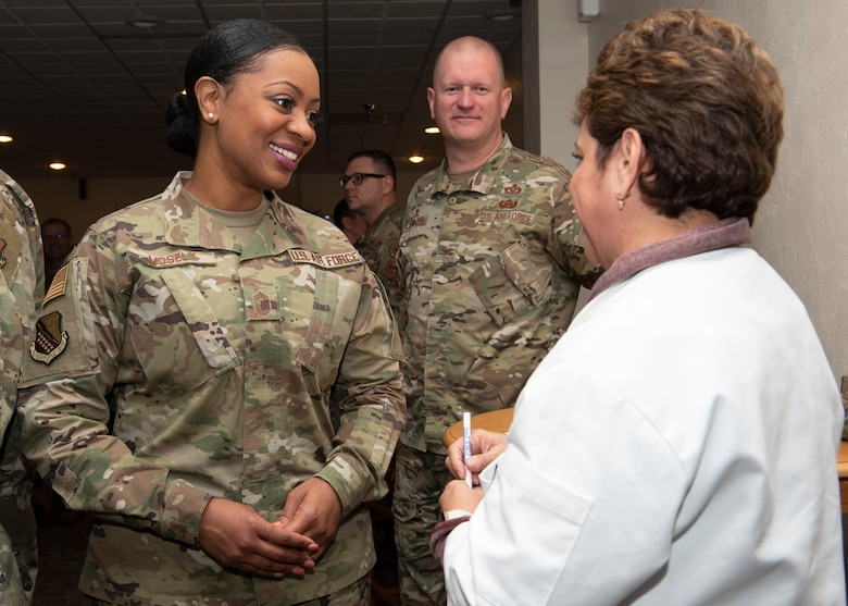 Chief Master Sgt. Diena Moseley, left, 82nd Training Wing command chief, talks with Laura Lozano, Hennessy Award evaluator, at Sheppard Air force Base, Texas, Feb. 7, 2020. Sheppard has won the Hennessy Award three times in the past. The evaluators look for several factors that can determine whether the dining facility is able to even be nominated for the award. (U.S. Air Force photo by Senior Airman Pedro Tenorio)