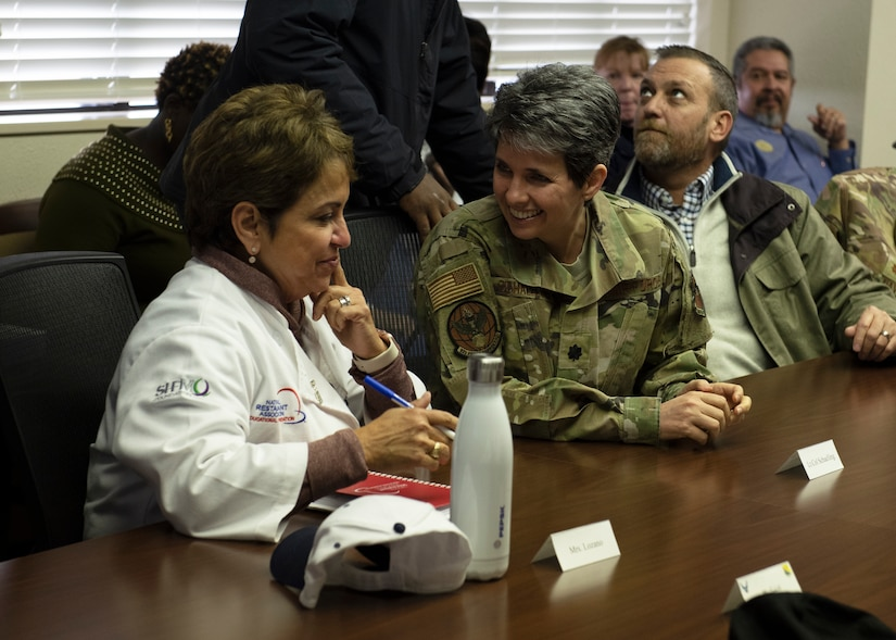 Laura Lozano, left, Hennessy Award evaluator, talks with Lt. Col. Colleen Shaeling, 82nd Force Support Squadron commander, at Sheppard Air force Base, Texas, Feb. 7, 2020. Sheppard has won the Hennessy Award three times in the past. The evaluators look for several factors that can determine whether the dining facility is able to even be nominated for the award. (U.S. Air Force photo by Senior Airman Pedro Tenorio