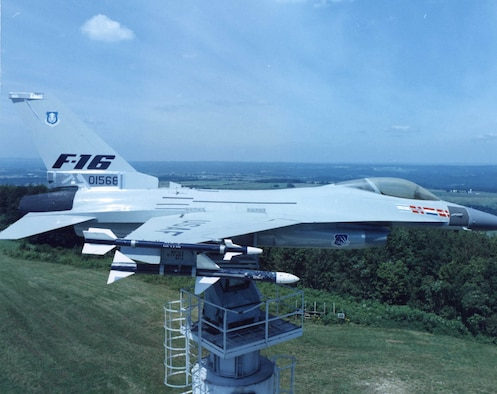 The YF-16 mounted on the test tower at the Newport Research Facility Circa 1987. (Courtesy photo)