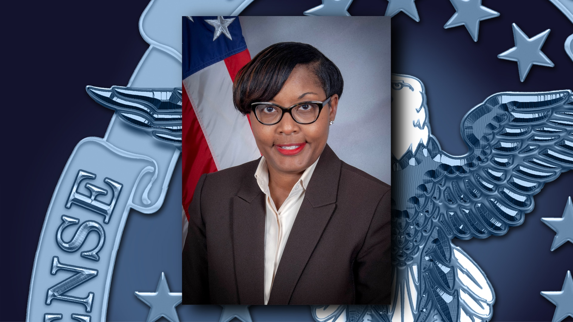 Woman with American flag in background on DLA template/logo.