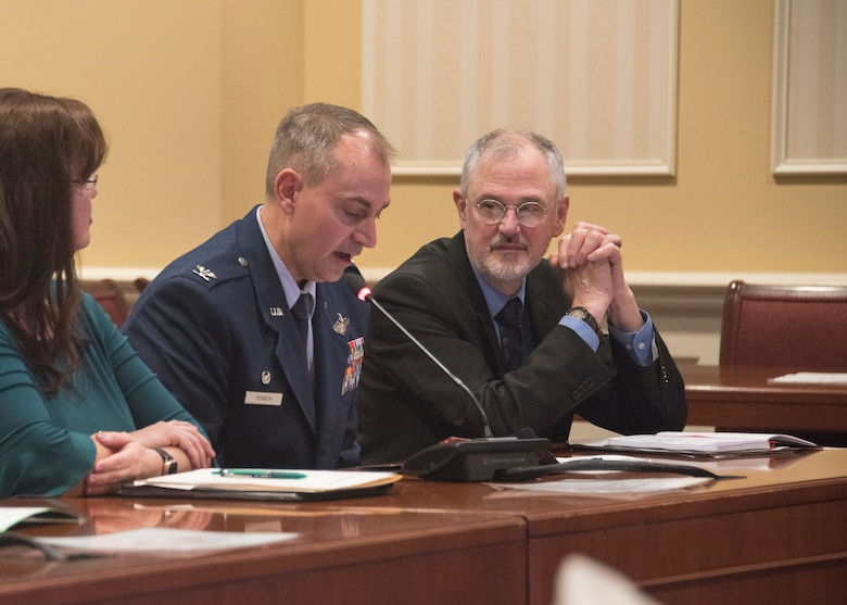 Col. Andrew Purath, 11th Wing and Joint Base Andrews Commander, speaks on Senate Bill 280, Occupational and Professional Licensing - Service Members, Veterans, and Military Spouses - Revisions to Reciprocity Requirements, to the Maryland Education, Health and Environmental Affairs Committee in Annapolis, Md., March 26, 2019. Maryland is one of many states that are pushing such legislation to allow for military spouses to either have expedited licensing or more flexible rules. For service members, veterans, and military spouse in Maryland, this bill would allow for a permanent license to be granted if the member moved to the state and has held a valid occupational or professional license from another state. (U.S. Air Force photo by Staff Sgt. Jared Duhon)