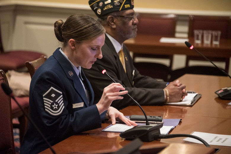 Master Sgt. Heather Kirscher, 11th Medical Support Squadron First Sergeant, speaks to the Maryland Education, Health and Environmental Affairs Committee on Senate Bill 280 in Annapolis, Md., Feb. 6, 2020. Kirscher spoke about Senate Bill 280, Occupational and Professional Licensing - Service Members, Veterans, and Military Spouses - Revisions to Reciprocity Requirements, and said by allowing spouses to use their professional licensing in this state for employment, this bill would positively affect the morale of the Air Force family. According to the Defense-State Liaison Offices, approximately 34% of military spouses require an occupation license to work. (U.S. Air Force photo by Staff Sgt. Jared Duhon)