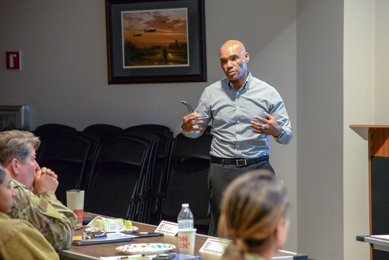 A picture of Erick Clark, Mental Health Association in New Jersey mental health first aid instructor and certified peer recovery practitioner, teaching a Mental Health First Aid training course.