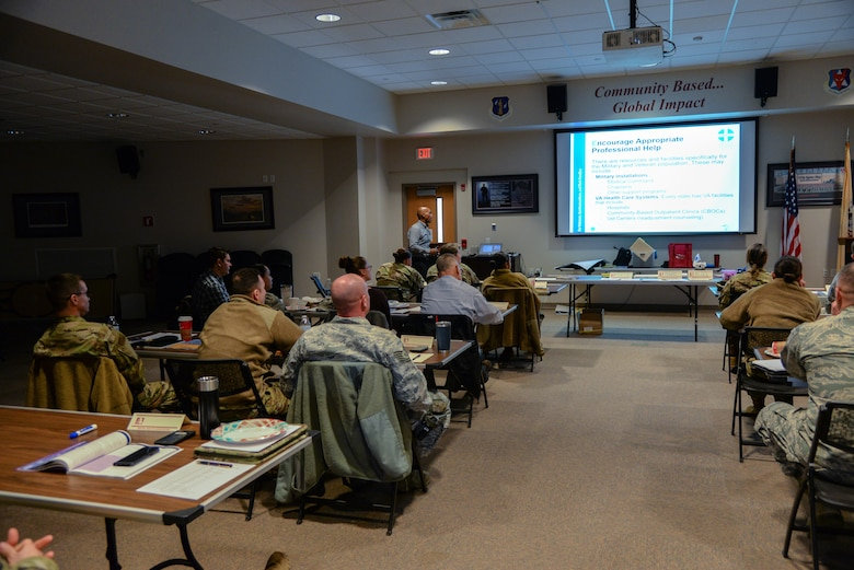 A picture of a Mental Health First Aid course being taught at the 177th Fighter Wing.
