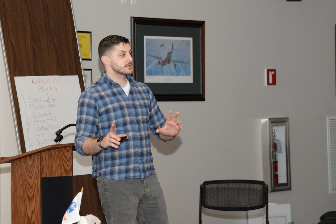 A picture of David Brimmer, Mental Health Association in New Jersey mental health first aid instructor, and VA NJ Health Care System community outreach coordinator, teaching a Mental Health First Aid training course.