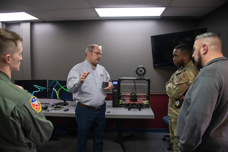 Jeffery Lee, the chief of the Wing Innovation Advancement Center assigned to the 97th Force Support Squadron, explains some of the real life applications that the center can assist with,