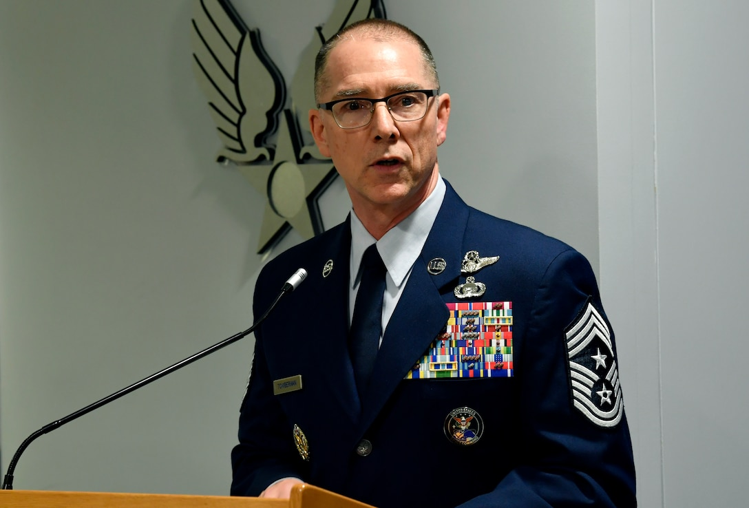 Chief Master Sgt. Roger A. Towberman was selected by U.S. Space Force Chief of Space Operations Gen. John W. Raymond to serve has the first senior enlisted advisor of U.S. Space Force during a ceremony at the Pentagon in Arlington, Va., Feb. 13, 2020.