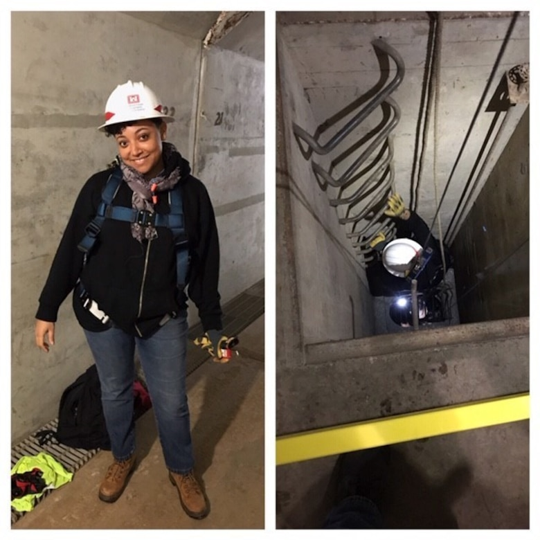 Erin Cumbo, project manager with the Little Rock District of the U.S. Army Corps of Engineers conducting a site visit at Bull Shoals Dam in Mountain Home, Arkansas.