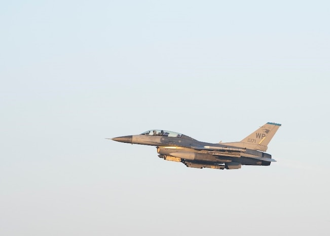 "A U.S. Air Force F-16 Fighting Falcon assigned to the 35th Fighter Squadron takes-off during a routine training at Kunsan Air Base, Republic of Korea, Feb. 11, 2020. The 35th FS ""Pantons"" conducted this routine training to maintain proficiency of flying operations. (U.S. Air Force photo by Senior Airman Jessica Blair)"