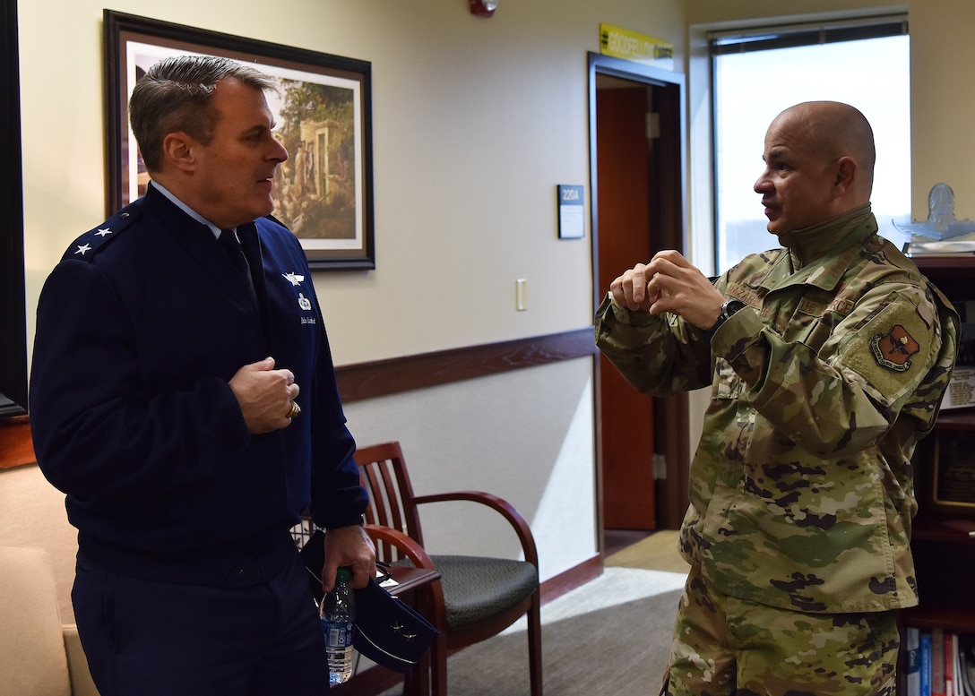 U.S. Air Force Maj. Gen. Peter Lambert, Assistant Deputy Chief of Staff, Intelligence, Surveillance and Reconnaissance, speaks to Col. Andres Nazario, 17th Training Wing commander, about his visit to Goodfellow Air Force Base, Texas, Feb. 13, 2020. Lambert observed several resiliency training programs and was a guest instructor for an intelligence training course. (U.S. Air Force photo by Staff Sgt. Chad Warren)