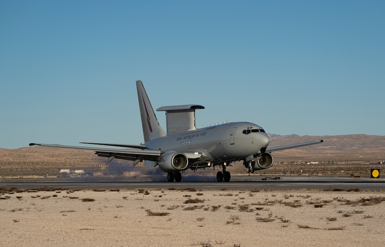 An aircraft prepares to take off.