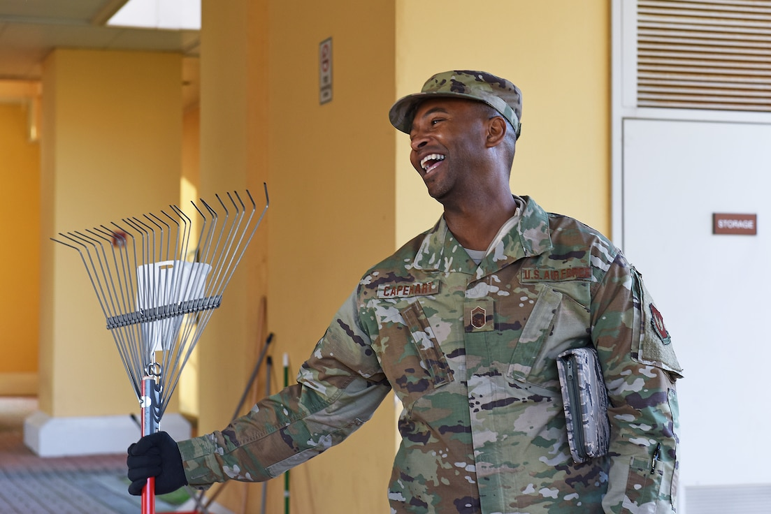 U.S. Air Force Senior Master Sgt. Raymond Capehart with the 31st Fighter Wing participates in a dormitory give-back event at Aviano Air Base, Italy, February 11, 2020. The event offered senior noncommissioned officers the opportunity to walk through the dorm campus to take note of things that may need to be fixed throughout the facilities, provide hands-on assistance with ongoing projects to maintain dorm appearance, and also to speak with Airmen about issues they may be having and provide a mentoring opportunity.
