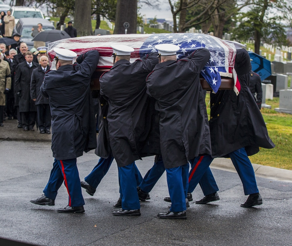 U.S. Marines with Marine Barracks Washington carry the casket of retired 28th Commandant of the Marine Corps (CMC) Gen. Paul X. Kelley, during Gen. Kelley's funeral service at Fort Myer Memorial Chapel, February 13, 2020. General Kelley served as CMC from 1983 to 1987. (U.S. Marine Corps photo by Sgt. Daisha R. Johnson)