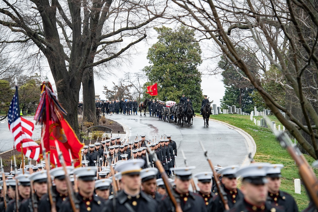 U.S. Marines conduct military funeral honors with funeral escort for retired 28th Commandant of the Marine Corps Gen. Paul X. Kelley in Section 34 of Arlington National Cemetery, Arlington, Virginia, Feb. 13.