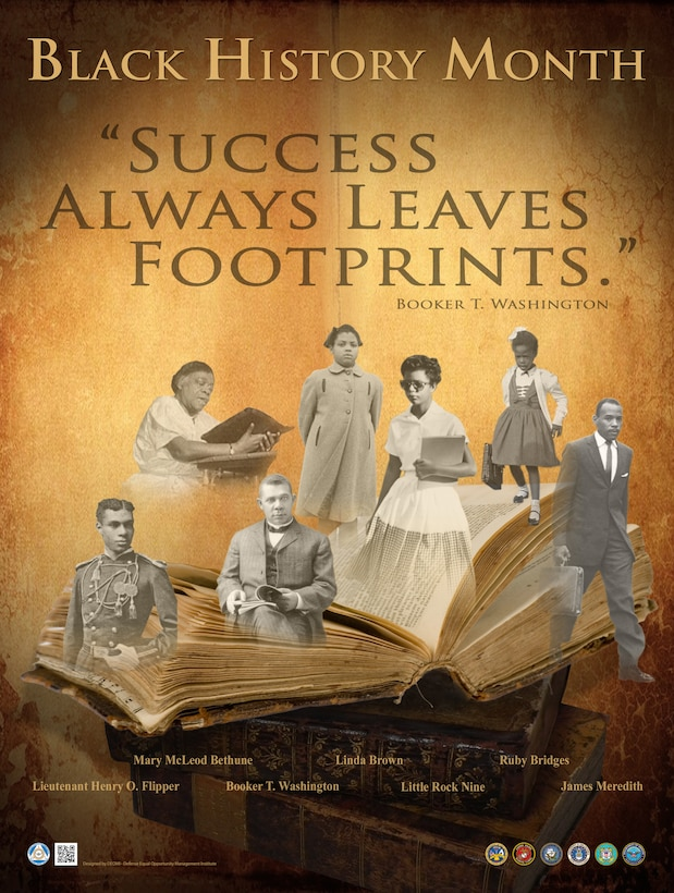 "Black History Month poster with images of famous African Americans and the quote ""Success always leaves footprints"" by Booker T. Washington."